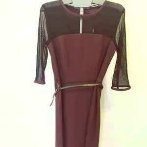 NEXT tailored burgundy  knee length dress size 10